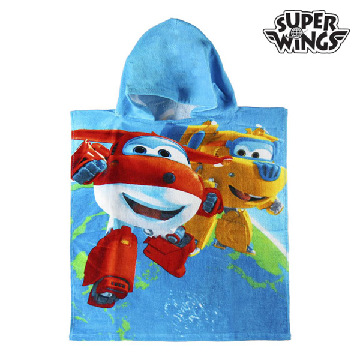 Super Wings blaues Poncho-Kapuzenhandtuch