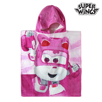 Super Wings rosafarbenes Poncho-Kapuzenhandtuch