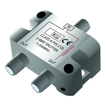 Qnect, Antennen-TV-Splitter F-Stecker Klasse A 1-in / 2-out