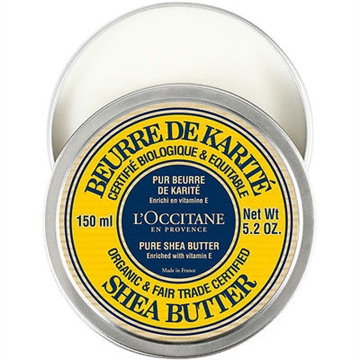 L'Occitane Shea Butter 150ml Organic Cerified & Fair Trade Approved / Enriched With Vitamine E