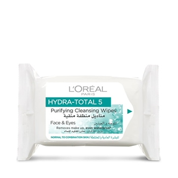 L'Oréal Paris Hydra Total 5 Purifying Cleansing Wipes Pack Of 25 For Face And Eyes