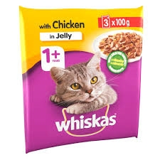 Whiskas 1+ Cat Pouch Chicken In Jelly  3X100G