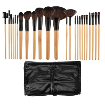 Mimo Makeup Brush Wooden&Black 24Pcs Set