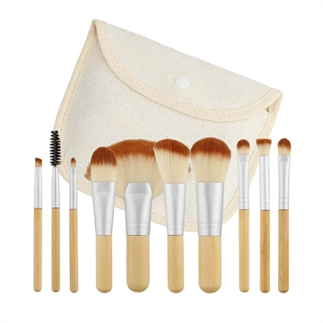Mimo Makeup Brush Bamboo 10Pcs Set