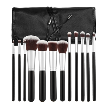 Mimo Makeup Brush Kabuki Black 12Pcs Set