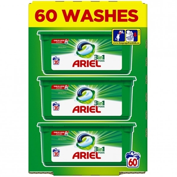 Ariel 3In1 Pods Washing Capsules Original 60Wash