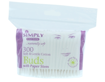 Simply Cotton Buds Paper Stem Zip Bag 300'S