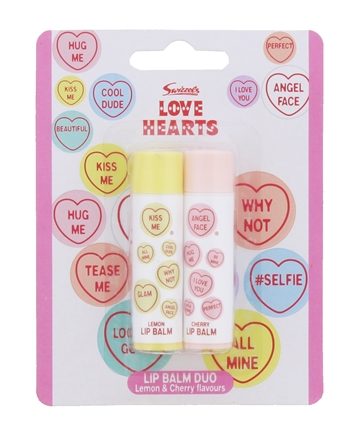 Swizzels Love Hearts 2X4G Lip Balm Duo Lemon & Cherry