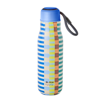 Rice - Stainless Steel Thermo Drinking Bottle 500 ml - Blue and Green Summer Stripe