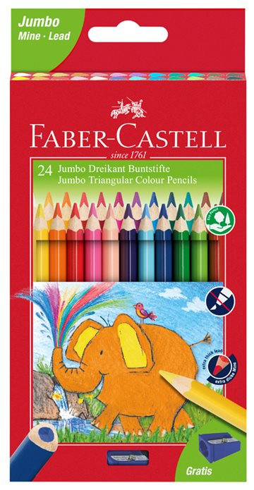 Faber-Castell - Jumbo Triangular colour pencils, wallet of 24 (116524)