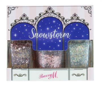 Barry M Snowstorm Glitter Nail Polish & Body Glitter Set 3Pc