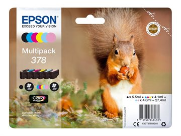 Epson 378 C13T37884010 CMYKLCLM Multipack Tintenpatroneer, 360 sider