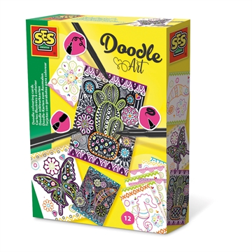 Doodle colouring cards