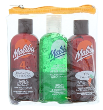 Malibu Oil & 100ml Aftersun Tan Maximizer 2X100ml 3Pk