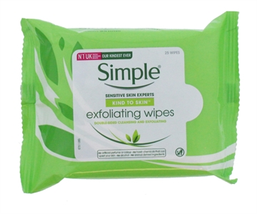Simple Facial Cleansing Wipes Exfoilating 25'S