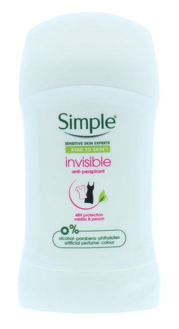 Simple 40ml Antiperspirant Stick Invisible Kiss