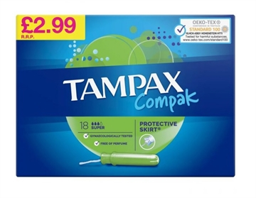 Tampax Compax Super 18'S Pmp £2.99